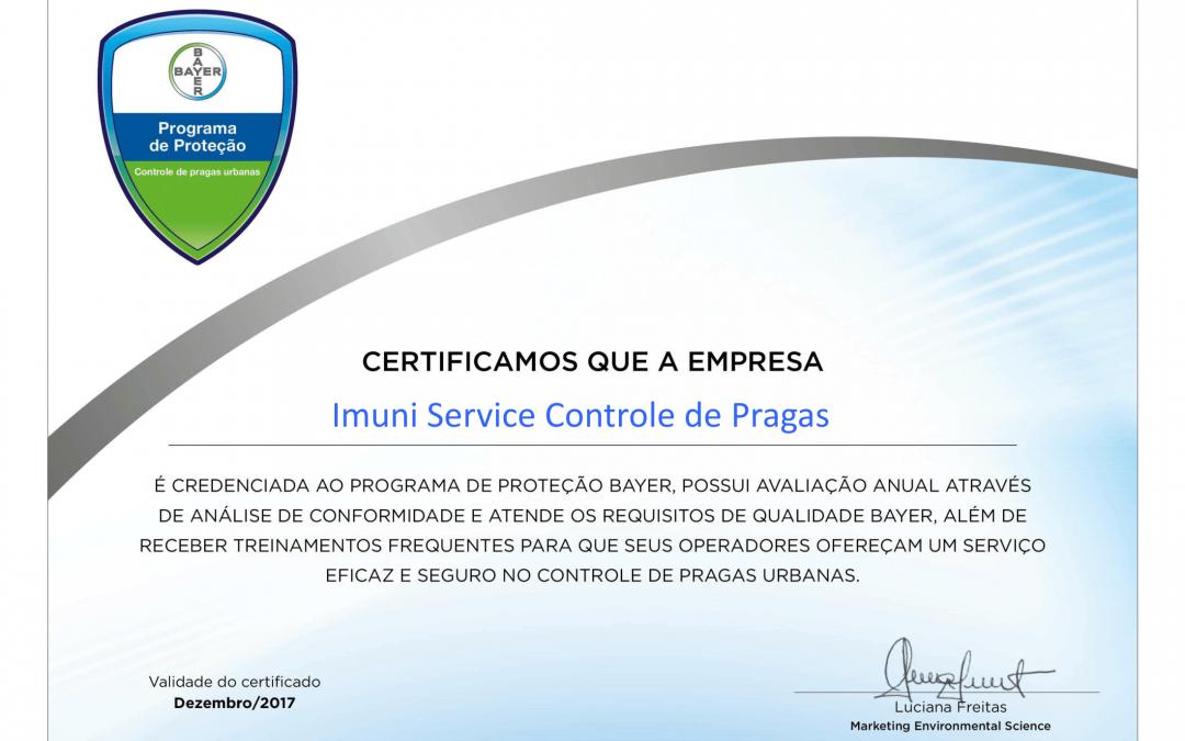 Programa de Proteção Bayer – Imuni Service Certificada Mais Uma Vez